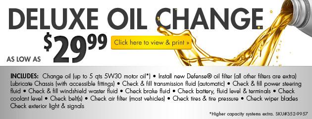 $29.99 Deluxe Oil Change