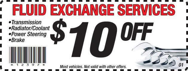 $10 Off Fluid Exchange Services