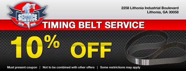 10 Percent OFF Timing Belt Service