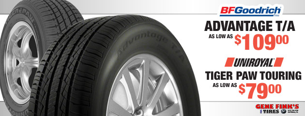 BFGoodrich Advantage T/A & Uniroyal Tiger Paw Touring Prices