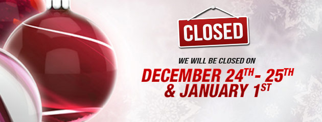 Holiday Hours Dec 24th - 25th and Jan 1st (PP)