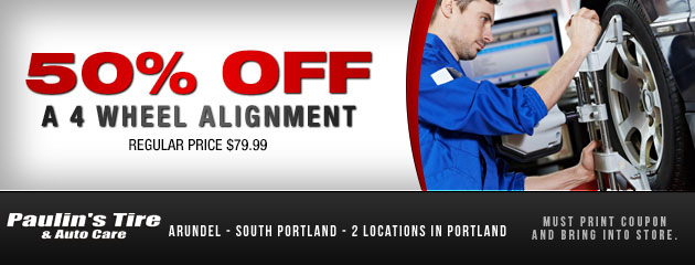 50% off 4-wheel alignment
