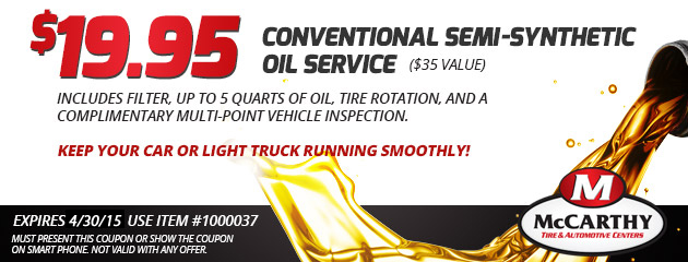 Conventional Semi-Synthetic Oil Change