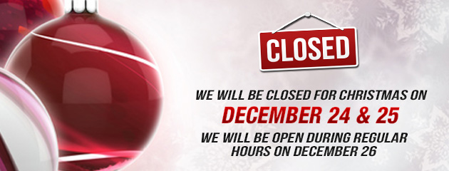 Christmas Holiday Hours - Closed 24,25, open 26 PP