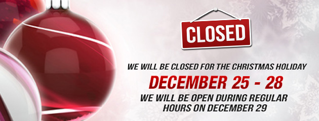 Christmas Holiday Hours - Closed 25-28, open 29 KB