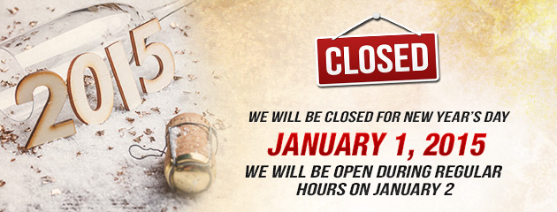 New Years Hours - Closed Jan1 -KB
