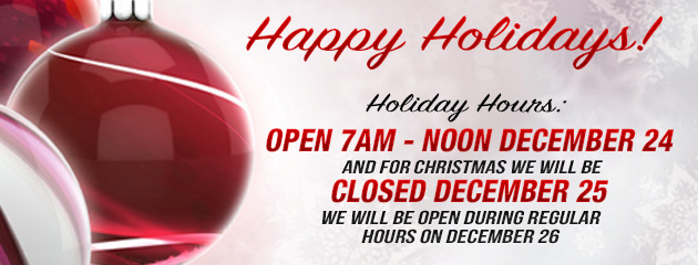 Christmas Holiday Hours - Closed Early 24, closed 25, open 26 KB