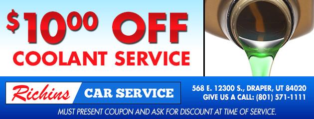 $10 Off Coolant Service