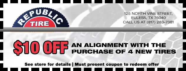 $10 Off an Alignment with 4 New Tires