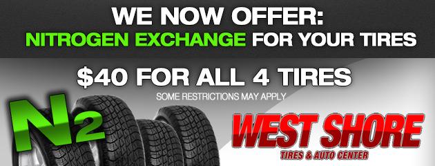 $40 Nitrogen Exchange for 4 Tires