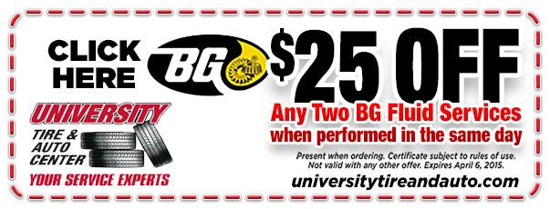 $25 Off Any 2 BG Fluid Services