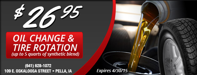 Oil Change and Tire Rotation Special $26.95