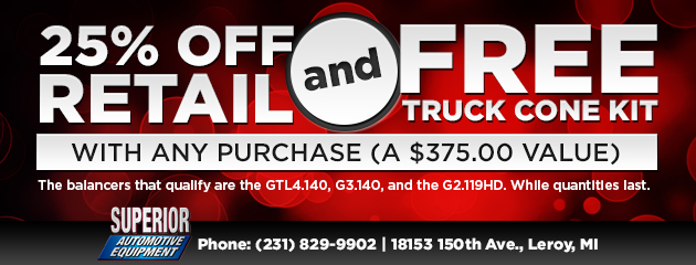 25% off Retail & Free Truck Cone Kit