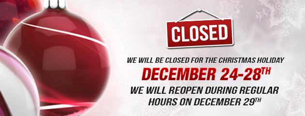 Christmas Holiday Hours - Closed 24-28, open 29 MB