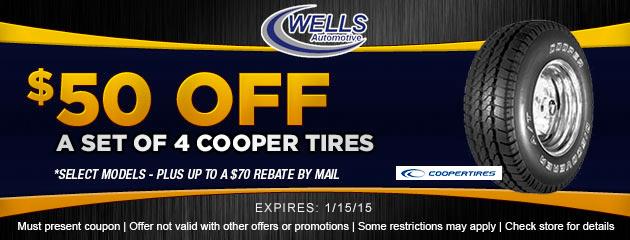 $50 OFF set of 4 Cooper Tires
