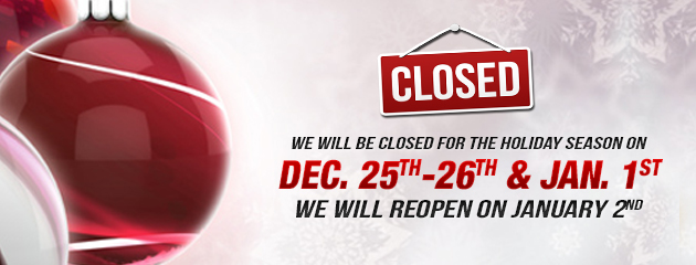 Christmas Holiday Hours - closed dec 25-26 and jan1 MB