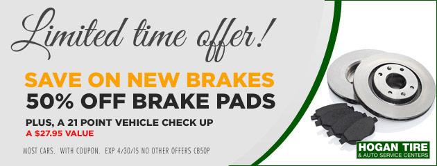 50% Off Brake Pads