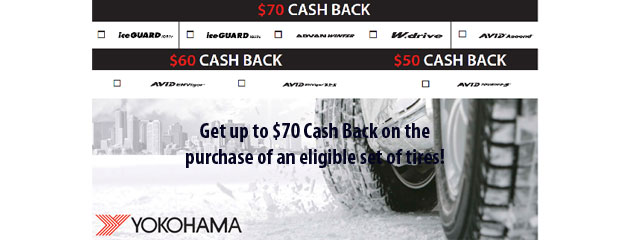 Yokohama up to $70 Rebate Big O