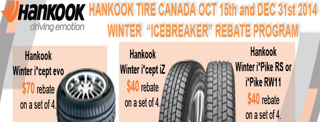Hankook up to $70 Rebate Big O