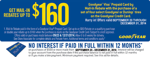 Goodyear up to $160 Rebate