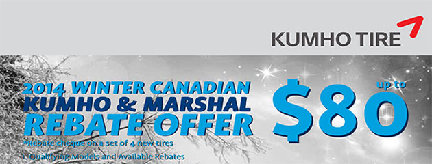 Kumho up to $80 Rebate Canada
