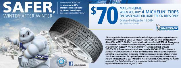 Michelin $70 Rebate Canada