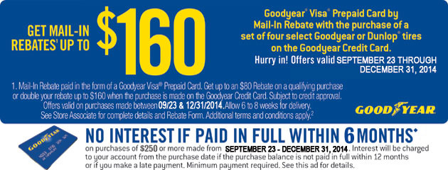 Goodyear up to $160 Rebate 6 Months
