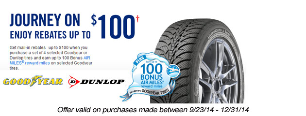 Goodyear/Dunlop up to $100 Rebate Canada