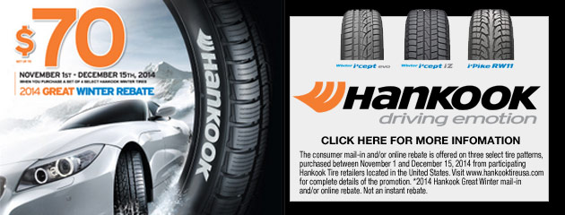 Hankook up to $70 Rebate