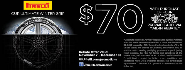 Pirelli $70 Winter Rebate
