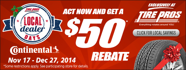 Tire Pros Dealer Days $50 Rebate