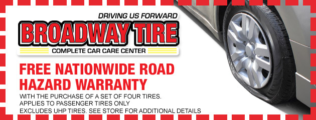 Free nationwide Road Hazard Warranty