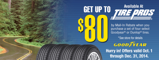 Goodyear Up to $80 Rebate Tire Pros