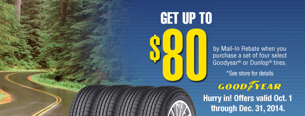 Goodyear Up to $80 Rebate