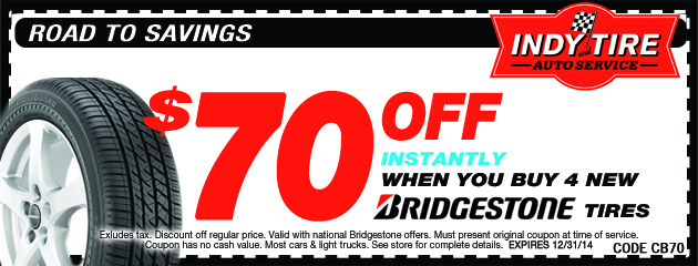 $70 Instantly Off on Bridgestone Tires
