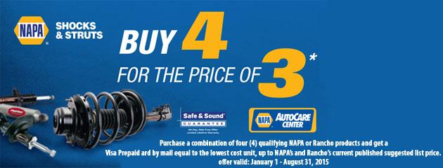 Napa Shocks and Struts Buy 4 For Price of 3