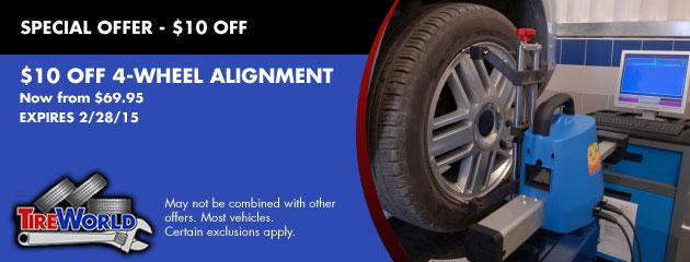 $10 OFF 4-Wheel Alignment