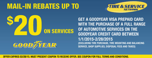 Goodyear TSN up to $20 Rebate