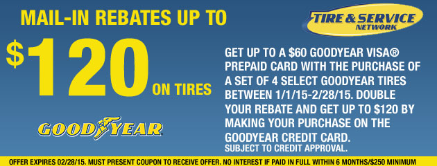 Goodyear TSN up to $120 Rebate 6 months