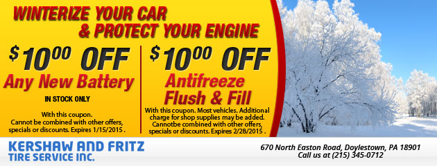 Winterize Your Car - $10 Off New Battery & $10 Off Antifreeze Flush & Fill