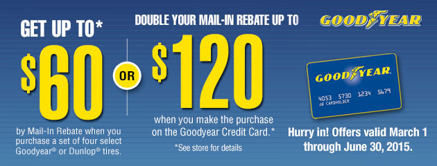 Goodyear CC up to $120 Rebate