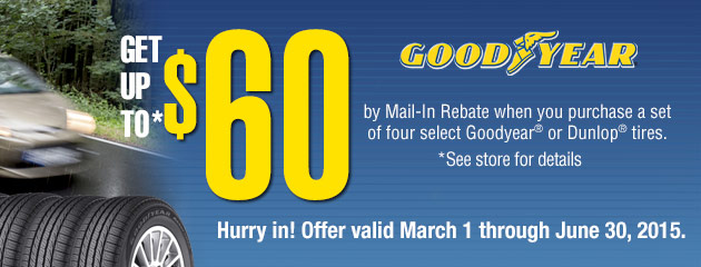 Goodyear up to $60 Rebate
