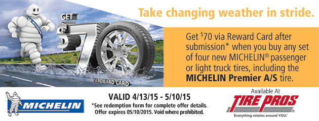 Michelin $70 Rebate Tire Pros