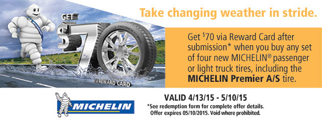 Michelin $70 Rebate