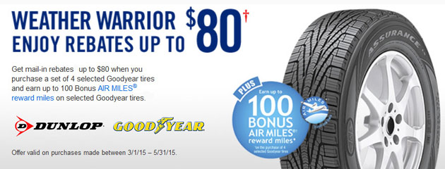 Dunlop up to $40 Rebate Canada