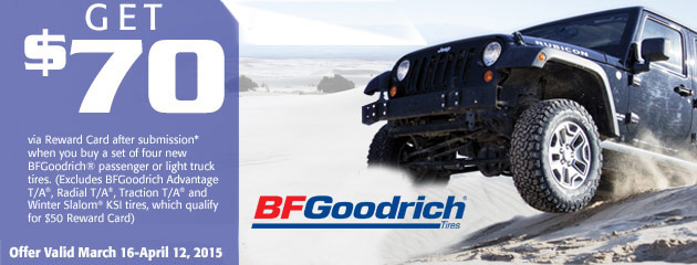 BFGoodrich up to $70 Rebate