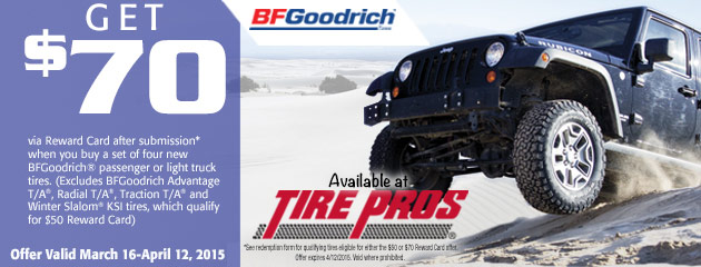 BFGoodrich up to $70 Rebate Tire Pros