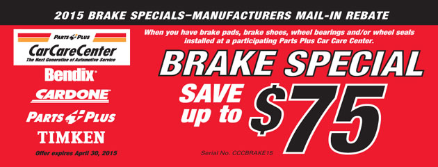 Parts Plus Car Care Center Brake Special Save up to $75