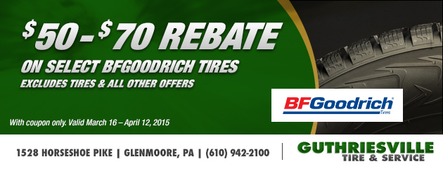 $50-$70 Rebate on Select BFGoodrich Tires