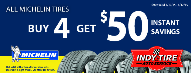 Buy 4 Michelin Tires Get $50 Instant Savings